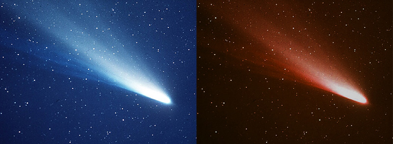 Comet Halley. Credit: ESA/Max Planck Institute for Solar System Research, CC BY You can turn a comet red with either magic or photoshop. I'm not telling which I used here.