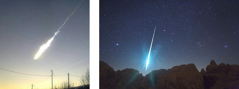LEFT: 2013 Russian meteor, by Сергей Устюжанин (@ustyuzhanin) | RIGHT: 2009 Gemenid Meteor over Mojave Desert, by Wally Pacholka