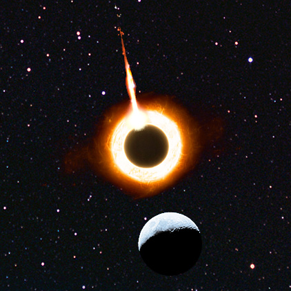The comet strikes the second moon while it is in eclipse position, with the surviving moon as the Watcher