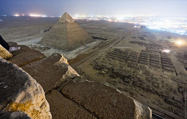 The view from atop the Great Pyramid of Giza. (Image taken without permission, and therefore used without permission.)