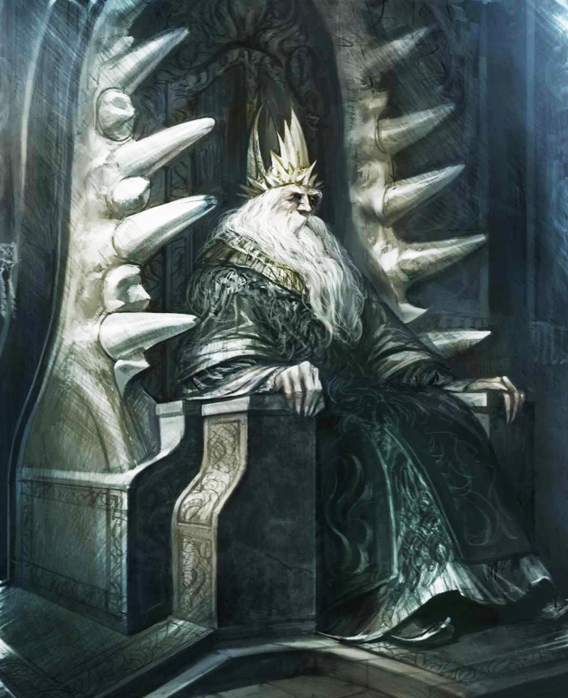 The Grey King upon his throne, as depicted by Arthur Bozonnet in The World of Ice and Fire