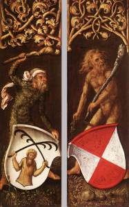 Wild men support coats of arms in the side panels of a portrait by Albrecht Dürer, 1499 (Alte Pinakothek, Munich)