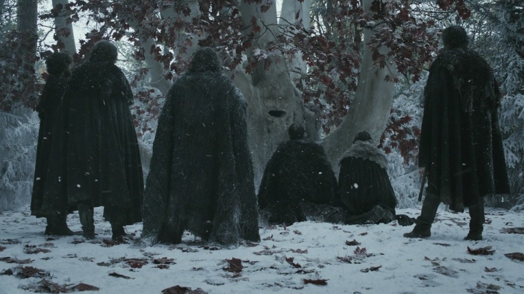 Jon Snow and Samwell Tarly take their vows before a heart tree, from HBO's Game of Thrones
