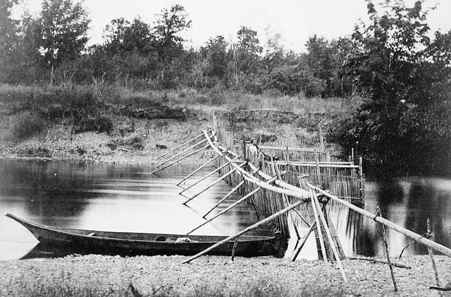 photo of a fishing weir from Quamichan Village on the Cowichan River, Vancouver Island, ca 1866 by Frederick Dally