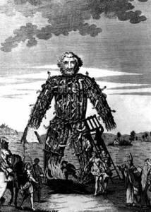 An illustration of Julius Caesar's claim of human sacrifice via wicker man